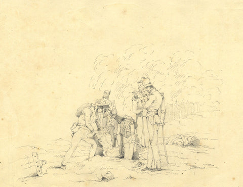 Camilla L. , Soldiers Burying their Dead - Original 1820 graphite drawing