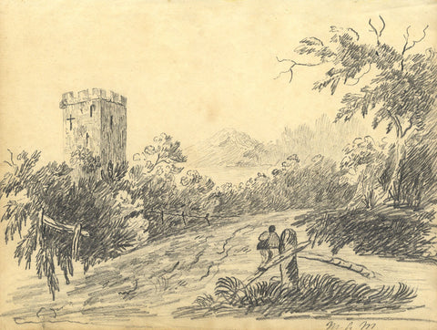 M.A.M. , River Near Castle Tower - Original early 19th-century graphite drawing