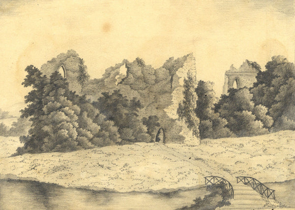 Elizabeth Laine, Castle Ruins in Overgrowth -Early 19th-century graphite drawing