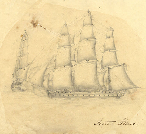 Aretas Akers, Ships under Battle Cannonfire - Original 1813 graphite drawing