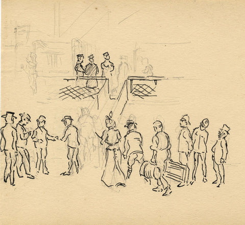 Boarding the Ship in England - Original late 19th-century pen & ink drawing