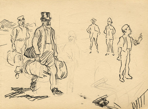 Gentleman Carrying Steamer Luggage -Original late 19th-century pen & ink drawing