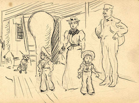 Mother and Children on Ship Deck - Original late 19th-century pen & ink drawing