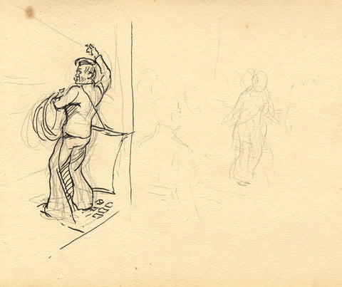 Sailor Towing in the Line - Original late 19th-century pen & ink drawing