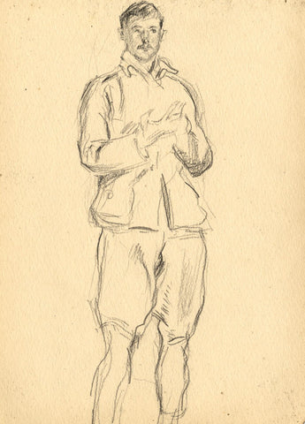 Young Man in Safari Outfit - Original late 19th-century graphite drawing