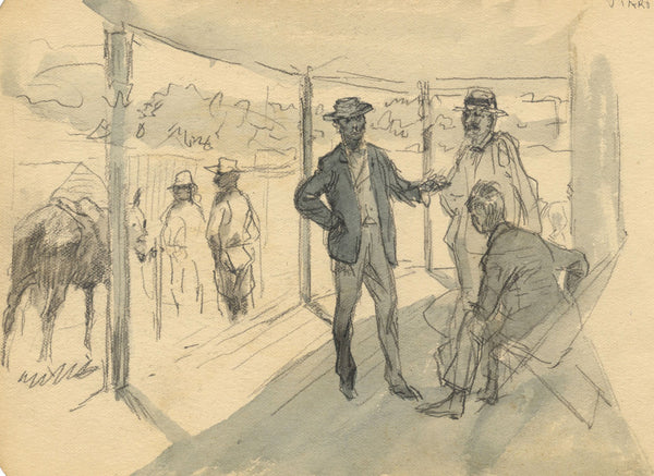 Gentlemen on the Porch at Tiaro - Original late 19th-century graphite drawing