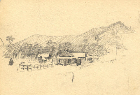 Ranch in the Australian Outback - Original late 19th-century graphite drawing
