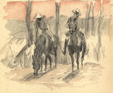 Men on Horseback at Sunset - Original late 19th-century graphite drawing
