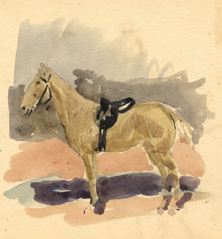 Horse in Saddle Study - Original late 19th-century watercolour painting