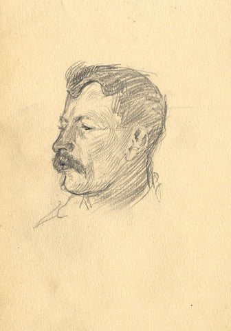 Young Man Portrait in Profile - Original late 19th-century graphite drawing