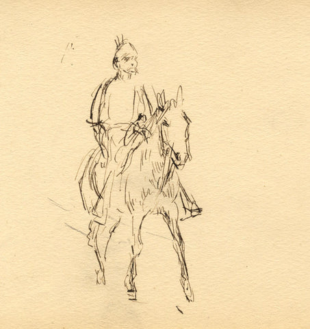 Mustachioed Figure on Horseback - Original late 19th-century pen & ink drawing