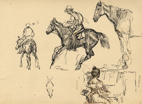 Playing Piano and On Horseback - Original late 19th-century pen & ink drawing
