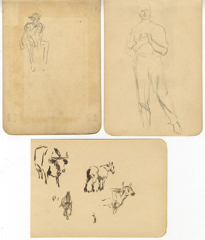 Figural and Animal Studies - Original late 19th-century graphite drawing