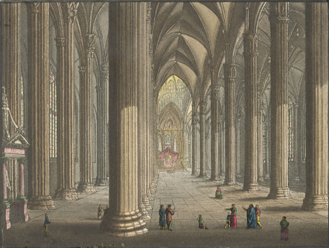 Interior View, Milan Cathedral - Original early 19th-century engraving print