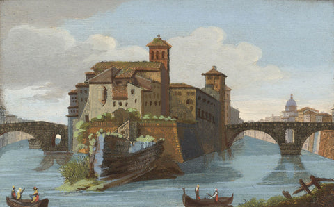 Tiber Island, Rome Italy - Original early 19th-century engraving print