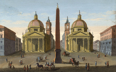 Piazza del Popolo, Rome Italy - Original early 19th-century engraving print