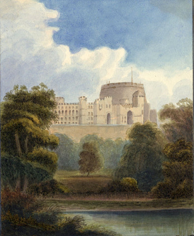 Windsor Castle - Original early 19th-century watercolour painting