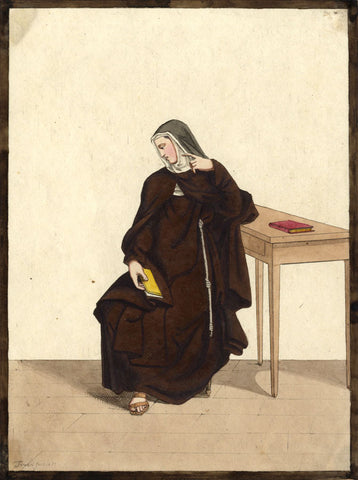 Ferrari, Nun in Contemplation - Original 1821 watercolour painting