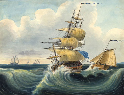 Ships at Sea - Original early 19th-century gouache painting
