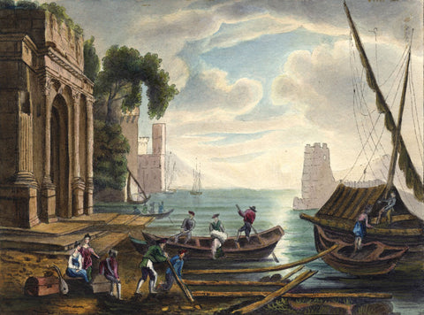 Boats in Italy - Original early 19th-century watercolour painting