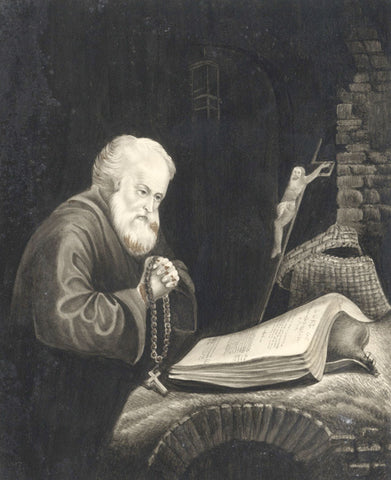 Old Man Praying - Original early 19th-century watercolour painting