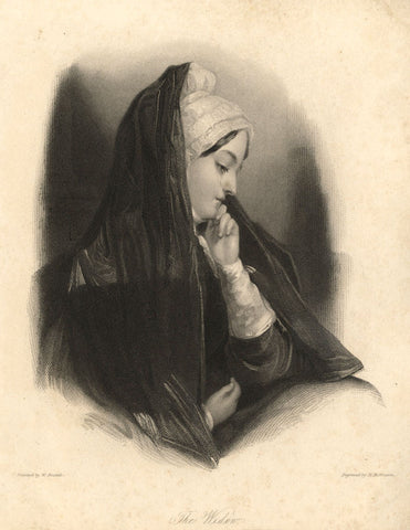 W. Boxall, The Widow - Original early 19th-century mezzotint print