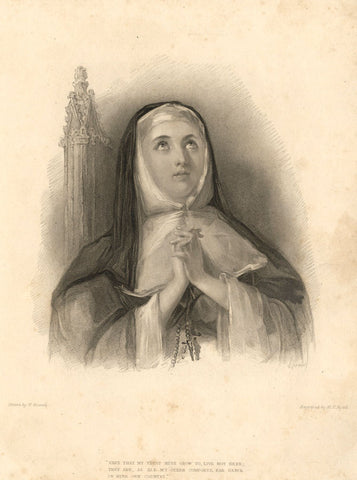 W. Boxall, Katherine of Aragon - Original early 19th-century mezzotint print