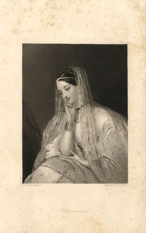 W. Boxall, Francesca of Rimini - Original early 19th-century mezzotint print