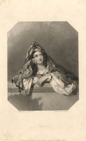A. Chalon RA, Rebecca from Ivanhoe - Original early 19th-century mezzotint print