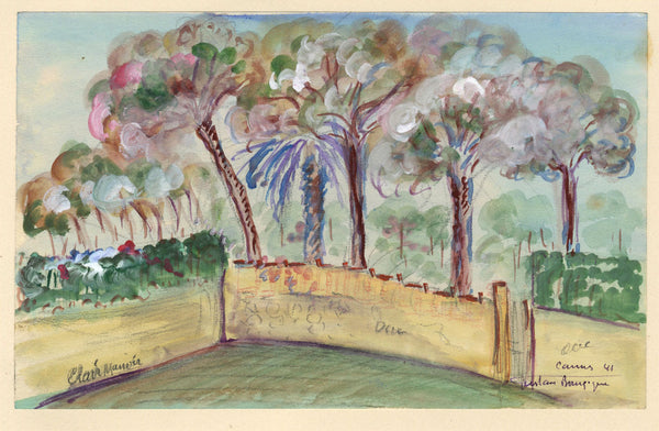 Gustave Bourgogne, Walled Garden - Original 1941 gouache painting