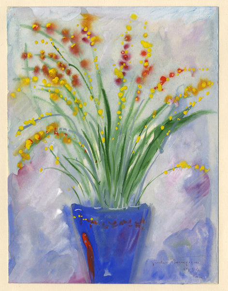 Gustave Bourgogne, Flowers in Blue Vase - Original 20th-century gouache painting