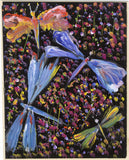 Gustave Bourgogne, Flowers and Dragonflies - Original mid-20th-century gouache