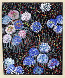 Gustave Bourgogne, Blue and White Flowers - Original mid-20th-century gouache