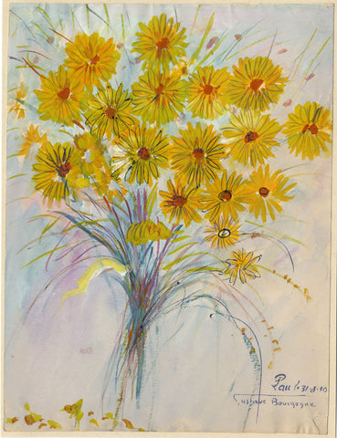 Gustave Bourgogne, Sunflowers - Original mid-20th-century gouache painting