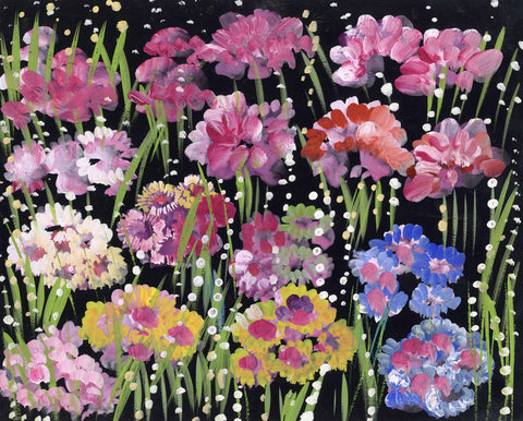 Gustave Bourgogne, Pink Flowers - Original mid-20th-century gouache painting