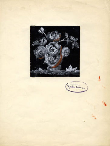 Gustave Bourgogne, Black and White Roses - Original mid-20th-century gouache