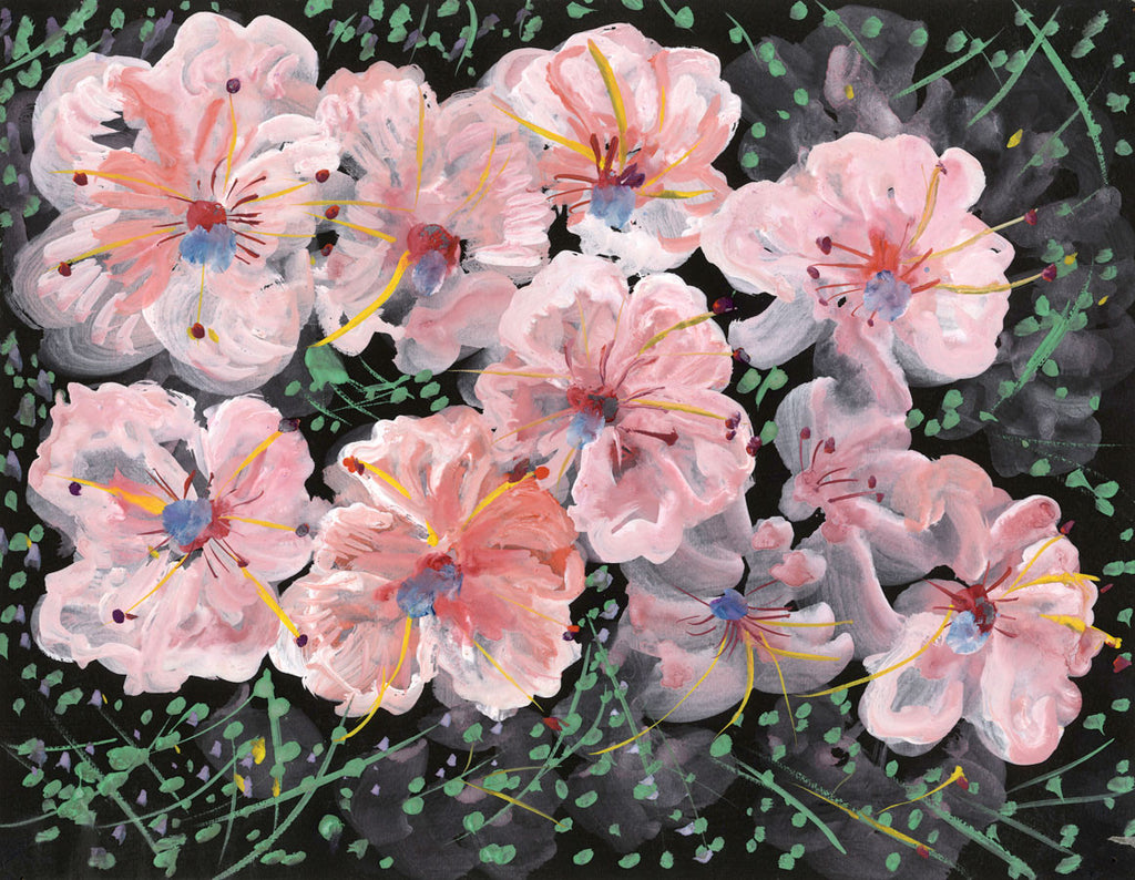Marvelous Gustave Bourgogne, Light Pink Flowers   Original Mid 20th Century Gouache  Painting ...