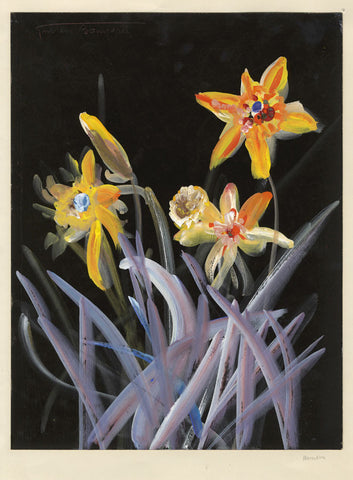 Gustave Bourgogne, Daffodils - Original mid-20th-century gouache painting