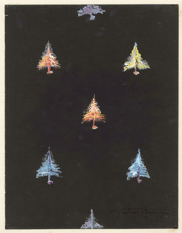 Gustave Bourgogne, Christmas Trees - Original mid-20th-century gouache painting