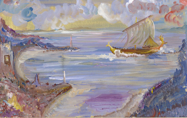 Gustave Bourgogne, Iseult in cornwall - Original mid-20th-century gouache