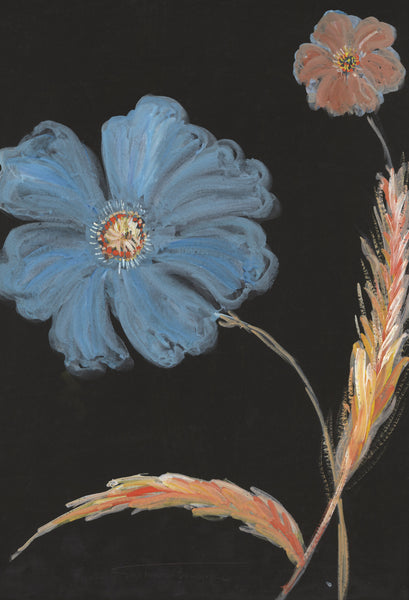 Gustave Bourgogne, Large Blue Flower - Original mid-20th-century gouache