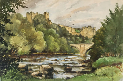 Thomas G. Hill, Richmond Castle - Original mid-20th-century watercolour painting