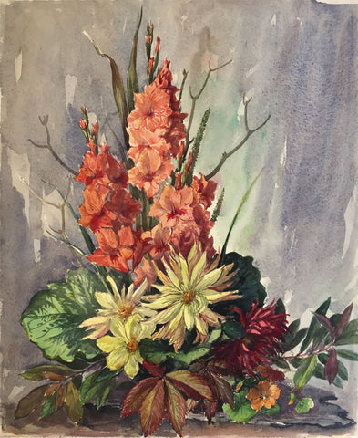 Thomas G. Hill, Cactus & Hibiscus Flowers -Mid-20th-century watercolour painting