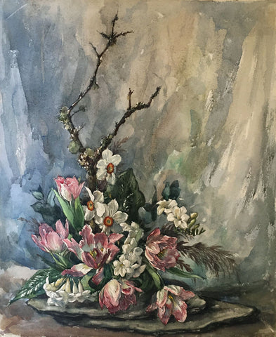 Thomas G. Hill, Tulip & Daffodil Flowers - Mid-20th-century watercolour painting