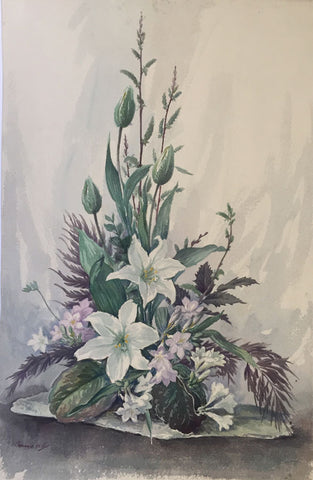 Thomas G. Hill, Lily & Rhododendron Flowers - Mid-20th-century watercolour