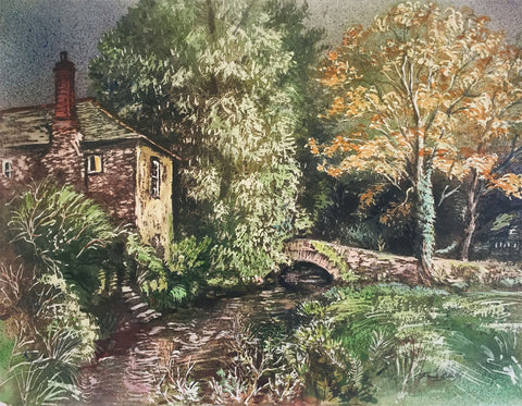 Thomas G. Hill, House on a River -Original mid-20th-century watercolour painting