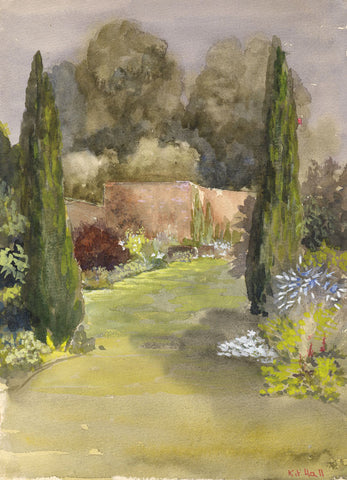 Kit Hall, Walled Garden Path - Original mid-20th-century watercolour painting