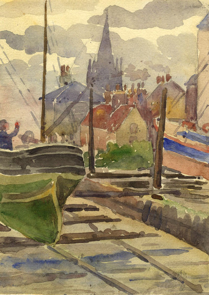 Village View from the City Dockyard - Original 1911 watercolour painting