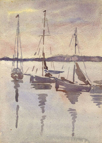 Three Sailboats in Sunset Outline - Original 1911 watercolour painting