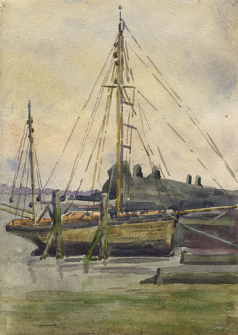Sailboat Docked in Harbour - Original early 20th-century watercolour painting